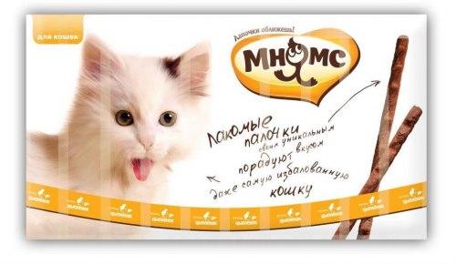 Лакомые палочки Мнямс 13,5 см для кошек с цыпленком и печенью 10х5 г