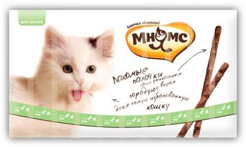 Лакомые палочки Мнямс 13,5см для кошек с уткой и кроликом 10x5г