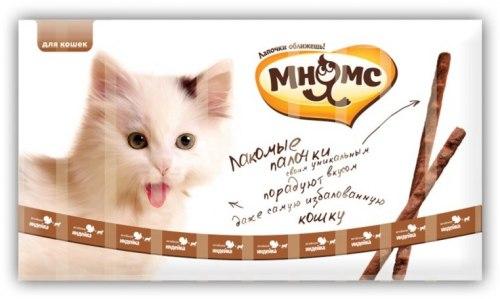 Лакомые палочки Мнямс 13,5см для кошек с индейкой и ягненком 10x5г.