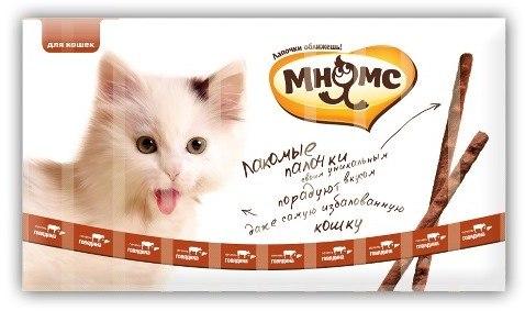 Лакомые палочки Мнямс 13,5см для кошек с говядиной и печенью 10x5г