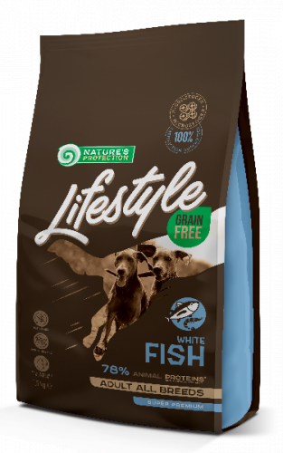 Сухой корм Nature's Protection Lifestyle Grain Free White Fish для взрослых собак всех пород 1,5 кг