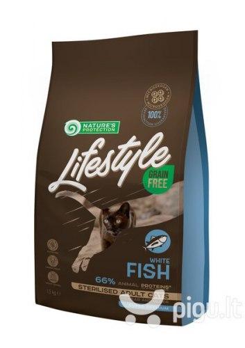 Сухой корм Nature's Protection Lifestyle Grain Free White Fish Sterilised 1,5кг