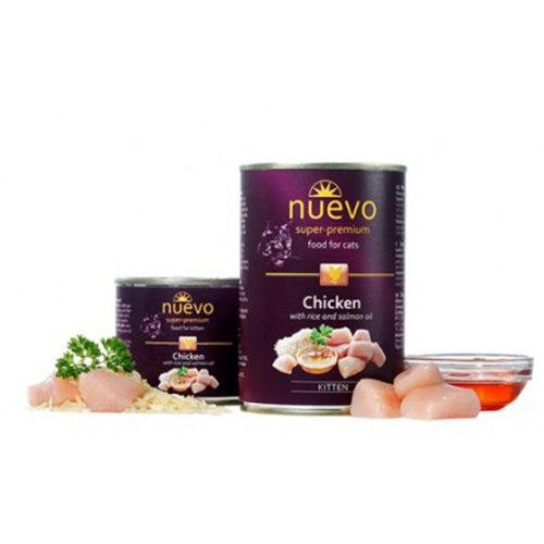 Влажный корм NUEVO для котят с курицей, рисом и лососевым жиром 400 г.