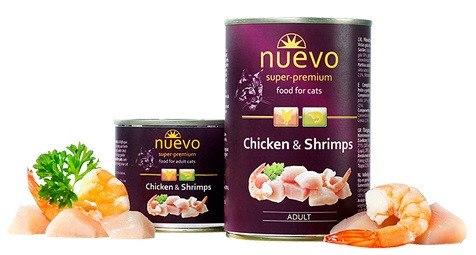 Влажный корм NUEVO для взрослых кошек с курицей и креветками 200 г.