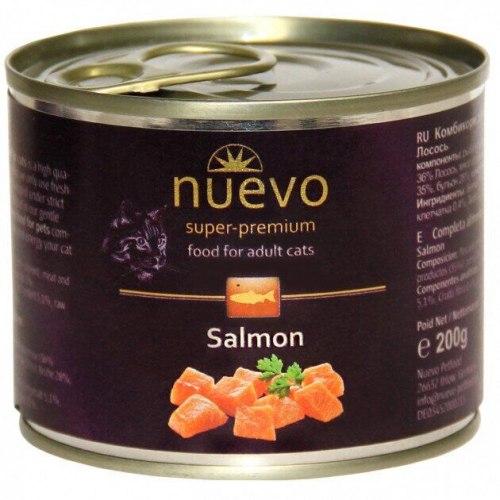 Влажный корм NUEVO для взрослых кошек с лососем 200 г.