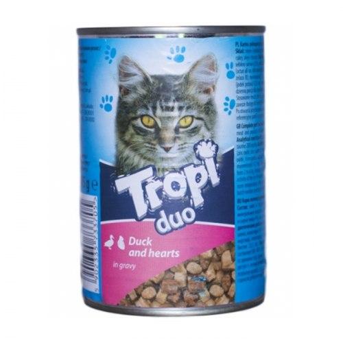 Влажный корм TROPI с уткой и сердцем,кусочки в соусе для взрослых кошек всех пород 415 г