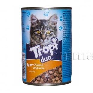 Влажный корм TROPI с цыпленком и печенью, кусочки в соусе для кошек всех пород 415 г