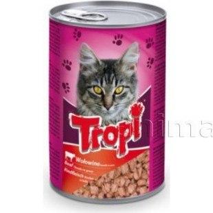 Влажный корм TROPI с говядиной, кусочки в соусе для взрослых кошек всех пород 415 г