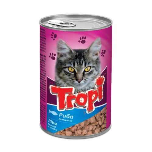 Влажный корм TROPI с рыбой, кусочки в соусе для взрослых кошек всех пород 415 г
