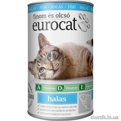 Влажный корм Eurocat консервы для кошек с рыбой 415 г.