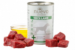 Влажный корм NUEVO SENSITIVE для взрослых собак с чувствительным пищеварением со 100% ягненком 400 г.