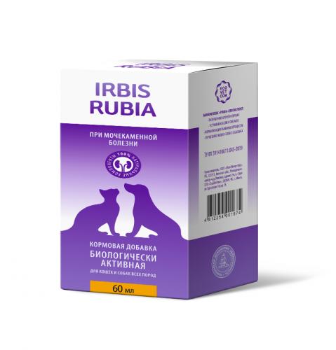 Кормовая добавка Ирбис РУБИА при мочекаменной болезни для кошек и собак , 60 мл