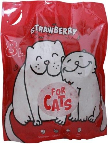 Наполнитель FOR CATS, силикагелевый наполнитель с ароматом клубники, 8 л