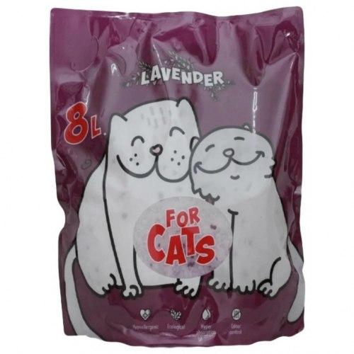Наполнитель FOR CATS, силикагелевый наполнитель с ароматом лаванды, 8 л