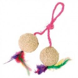 Игрушка В НАЛИЧИИ TRIXIE для кошки в виде 2 мячиков с кошачей мятой и перьями на верёвке 2*4,5см