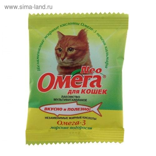 Мультивитаминное лакомство Омега Neo для кошек с морскими водорослями, саше 15табл