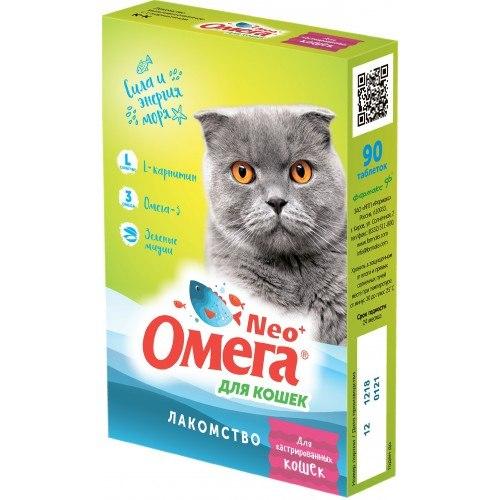 Мультивитаминное лакомство Омега Neo К-К с L-карнитином для кошек 90таб.