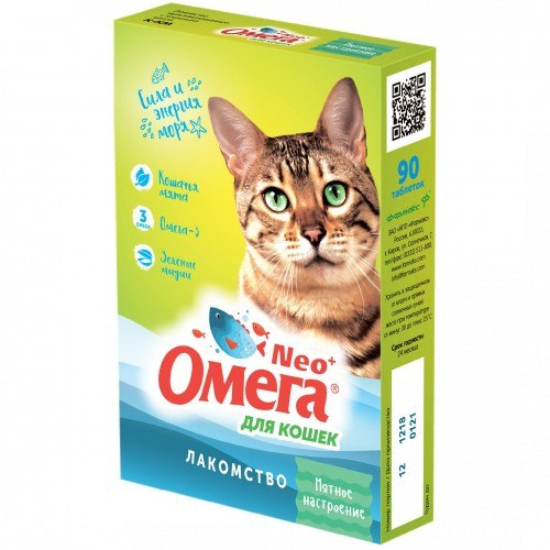 Мультивитаминное лакомство Омега Neo К-КМ с кошачьей мятой для кошек 90таб.