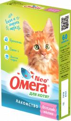 Мультивитаминное лакомство Омега Neo с пребиотиком и таурином для котят 60таб