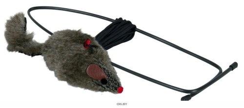 Дразнилка TRIXIE для кошки в виде плюшевой мышки с креплением на дверной проем, 8 см/190см