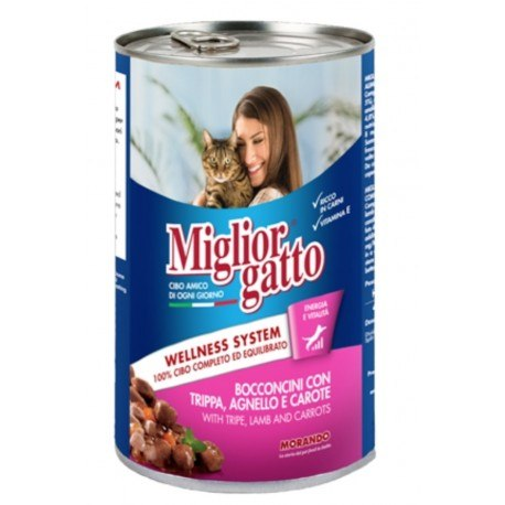 Консерва Miglior Gatto для кошек рубец/ягненок/морковь, 405г