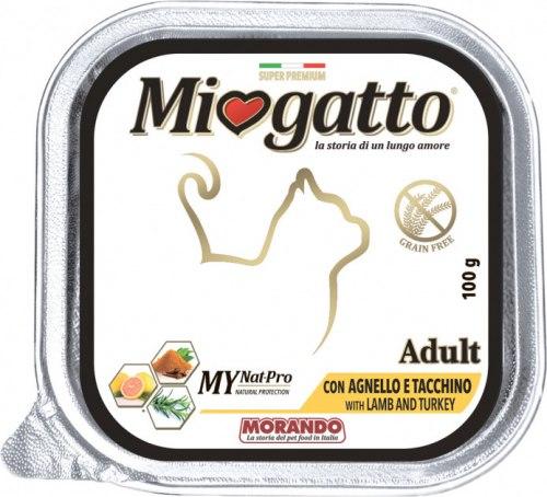 Консерва Miogatto для взрослых кошек ягненок/индейка, 100г