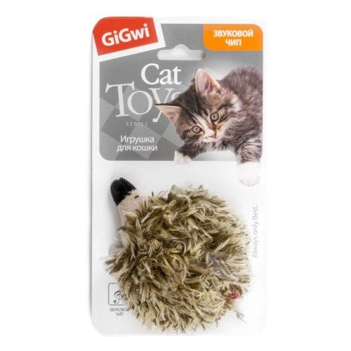 Игрушка Gigwi для кошек Ежик со звуковым чипом, 10 см