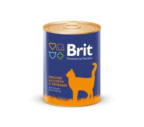 Консерва Brit для кошек BEEF AND LIVER MEDLEY Мясное ассорти с печенью, 340 г