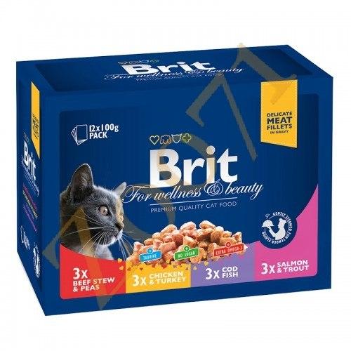 Набор паучей Brit для кошек Family Plate Семейная тарелка,12*100г