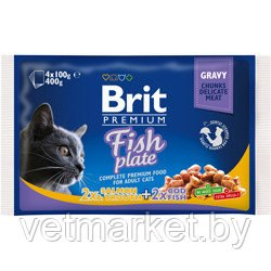 Набор паучей Brit для кошек Fish Plate Рыбная тарелка,4*100г