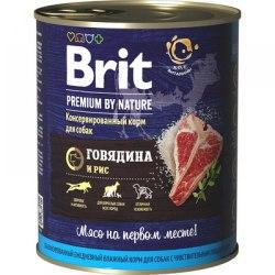 Консерва Brit Premium BY NATURE Говядина и рис, 850г