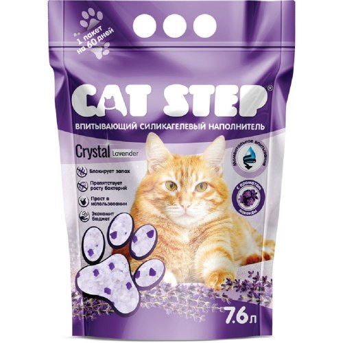 """Наполнитель Cat Step """"Лаванда"""" 7,6 л, силикагелевый впитывающий"""