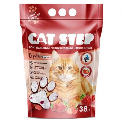 """Наполнитель Cat Step """"Клубника"""" 3,8л, силикагелевый впитывающий"""