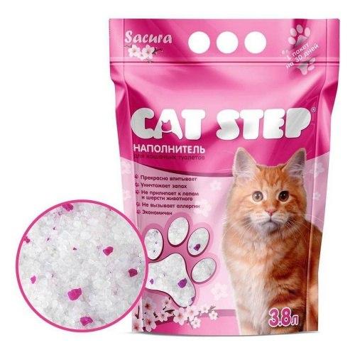 Наполнитель Cat Step Crystal Pink 3,8L, силикагелевый впитывающий