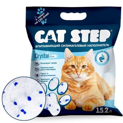 Наполнитель Cat Step Crystal Blue 15,2 л, силикагелевый впитывающий