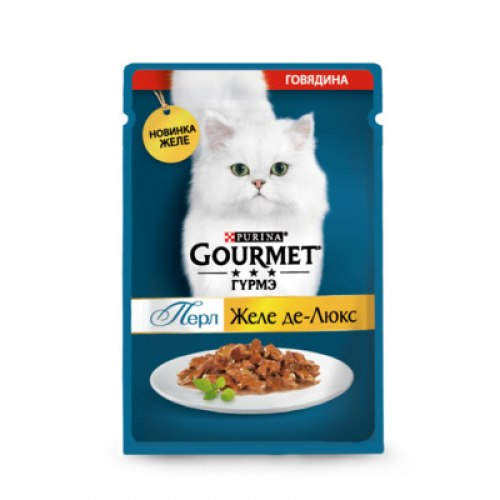 Консерва Gourmet Perle Желе Де-Люкс, с говядиной в роскошном желе, 75г