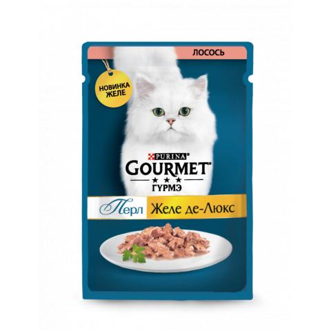 Консерва Gourmet Perle Желе Де-Люкс, с лососем в роскошном желе, 75г