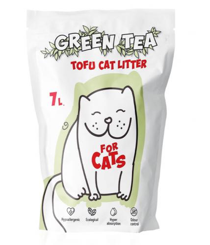 Наполнитель For CATS Tofu Natural, комкующийся c ароматом зеленого чая, 7л