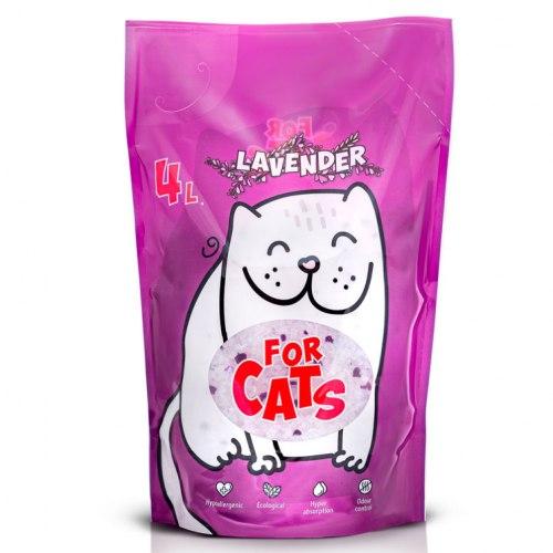 Наполнитель For CATS силикагелевый с ароматом лаванды, 8 л.