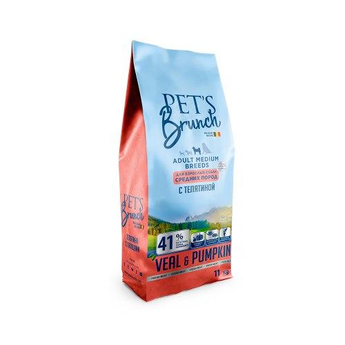 Сухой корм Pet's Brunch для взрослых собак средних пород, с ТЕЛЯТИНОЙ, 11 кг