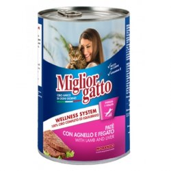 Паштет Miglior Gatto для кошек ягненок/печень, 400г