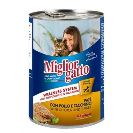 Паштет Miglior Gatto для кошек курица/индейка, 400г