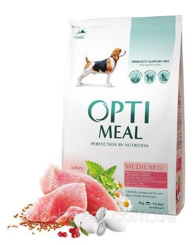 Сухой корм Optimeal (10+2,5) для взрослых собак средних пород - индейка