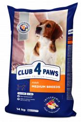 Сухой корм Club 4 Paws для взрослых собак средних пород, 14 кг