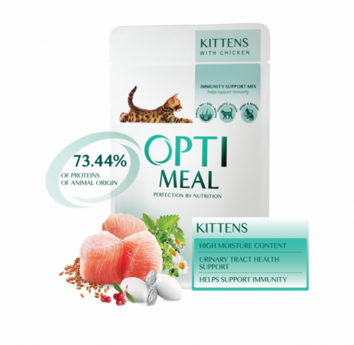 Влажный корм Optimeal для котят с курицей, 85г*12шт
