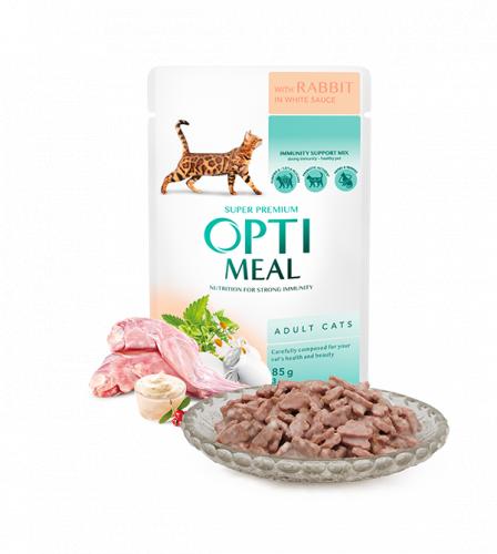Влажный корм Optimeal для взрослых кошек с кроликом в белом соусе, 85г