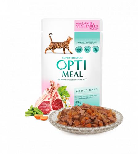 Влажный корм Optimeal для взрослых кошек с ягненком и овощами в желе, 85г*12шт