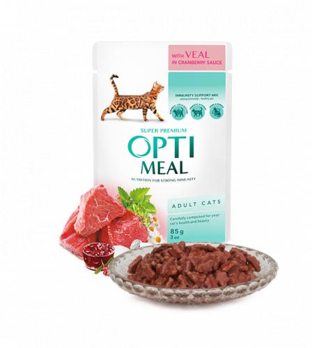 Влажный корм Optimeal для взрослых кошек телятина в клюквенном соусе, 85г