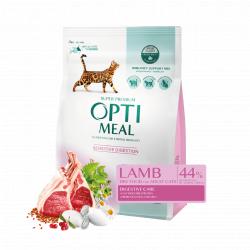 Сухой корм Optimeal для взрослых кошек с чувствительным пищеварением - ягненок, 4 кг
