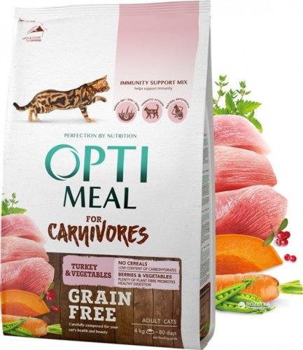 Сухой корм Optimeal Беззерновой для кошек - индейка и овощи, 4 кг